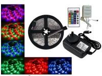 KIT TIRA DE LEDS 3528 60 LED/M X 5 METROS INTERIOR RGB CON FUENTE A 220V