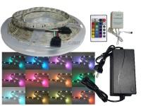 KIT TIRA DE LEDS 5050 RGB SILICONADA CON CONTROL Y FUENTE TODO LISTO PARA ENCHUFAR A 220V