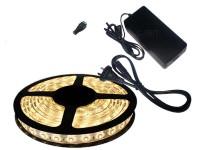 KIT TIRA DE LEDS 5050 300 LEDS X 5 METROS EXTERIOR CON FUENTE LISTO PARA ENCHUFAR A 220V BLANCO CALIDO
