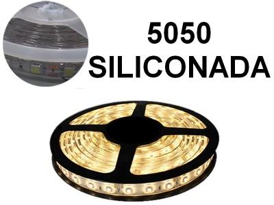 TIRA DE LEDS 5050 60 LED/M X 5 METROS EXTERIOR 12V BLANCO CALIDO