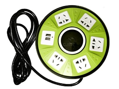 ALARGUE 5 TOMAS, 2 PUERTOS USB, CON PULSADOR ENCENDIDO/ APAGADO Y PROTECTOR TERMICO