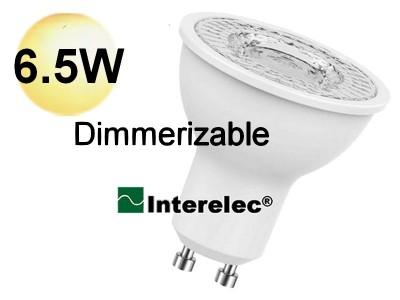 "DICROICA LED DIMERIZABLE 6.5W 220V GU10 ""INTERELEC""  BLANCO CALIDO"