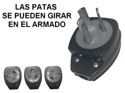 ENCHUFE MACHO 3 PATAS ORIENTABLES EN EL ARMADO