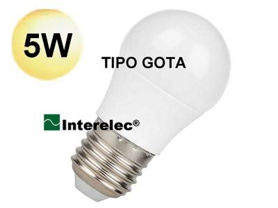 """LAMPARA LED TIPO GOTA 5W 220V E27 """"INTERELEC"""" BLANCO CALIDO"""