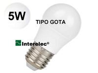 """LAMPARA LED TIPO GOTA 5W 220V E27 """"INTERELEC"""" BLANCO FRIO/ LUZ DIA"""