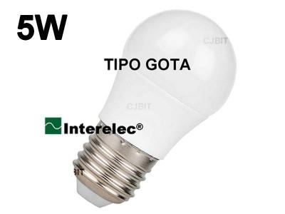 """LAMPARA LED TIPO GOTA 5W 220V E27 """"INTERELEC"""""""