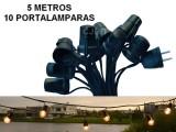 GUIRNALDA 5 METROS 10 PORTALAMPARAS E27 CON ENCHUF