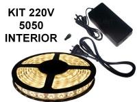 KIT TIRA DE LEDS 5050 300 LEDS X 5 METROS INTERIOR CON FUENTE LISTO PARA ENCHUFAR A 220V BLANCO CALIDO