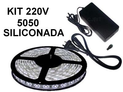 KIT TIRA DE LEDS 5050 300 LEDS X 5 METROS SILICONADA CON FUENTE LISTO PARA ENCHUFAR A 220V BLANCO FRIO