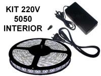 KIT TIRA DE LEDS 5050 300 LEDS X 5 METROS INTERIOR CON FUENTE LISTO PARA ENCHUFAR A 220V BLANCO FRIO