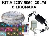 KIT TIRA DE 150 LEDS 5050 RGB SILICONADA CON CONTR