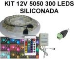 KIT 12V TIRA DE 300 LEDS 5050 RGB SILICONADA CON C