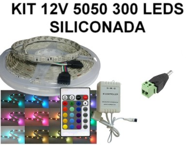 KIT 12V TIRA DE 300 LEDS 5050 RGB SILICONADA CON CONTROL PARA AUTO/ MOTO