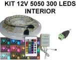 KIT 12V TIRA DE 300 LEDS 5050 RGB INTERIOR CON CON