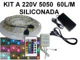 KIT TIRA DE 300 LEDS 5050 RGB SILICONADA CON CONTR