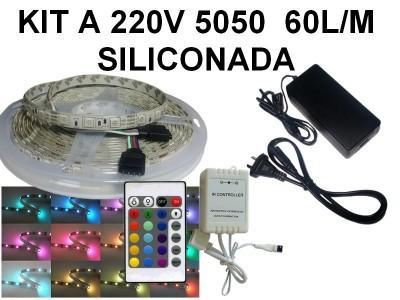 KIT TIRA DE 300 LEDS 5050 RGB SILICONADA CON CONTROL Y FUENTE TODO LISTO PARA ENCHUFAR A 220V