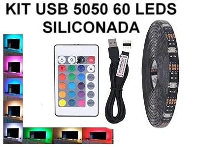 KIT TIRA DE 60 LEDS 5050 RGB SILICONADA CON CONTROL LISTO PARA CONECTAR A USB (5V)