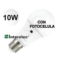 LAMPARA LED 10W CON FOTOCELULA ROSCA E27 BLANCO FR