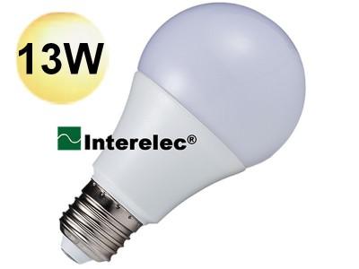 "LAMPARA LED BULBO 13W 220V E27 ""INTERELEC"" BLANCO CALIDO"