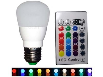 LAMPARA LED RGBW 4W 220V E27 CON CONTROL REMOTO