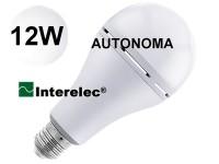 """LAMPARA LED 12W AUTONOMA RECARGABLE LUZ DIA ROSCA E27 LUZ DE EMERGENCIA """"INTERELEC"""""""