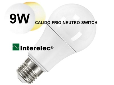 "LAMPARA LED SELECCION CALIDO-NEUTRO-FRIO POR SWITCH 9W ""INTERELEC"""